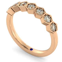 OKDA Round cut Vintage Half Eternity Diamond Ring - rose