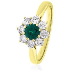 HRRGEM1027 Round cut Emerald & Diamond Halo Ring - yellow