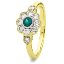 HRRGEM1065 Deco Round Emerald & Diamond Cluster Ring - yellow