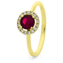 HRRGRY1044 Ruby & Diamond Single Band Halo Ring - yellow