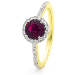 HRRGRY1049 Ruby & Diamond Single Shoulder Halo Ring - yellow