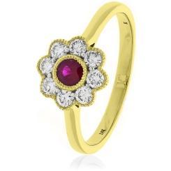 HRRGRY1069 Ruby Gemstone Flower Halo Ring - yellow