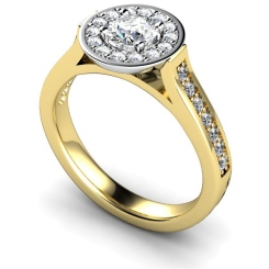 HRRSD250 Round cut Halo Diamond Ring  - yellow