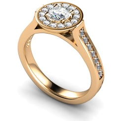 HRRSD250 Round cut Halo Diamond Ring  - rose