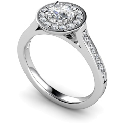 HRRSD250 Round cut Halo Diamond Ring  - white