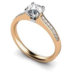 HRRSD457 Round Shoulder Diamond Ring - rose