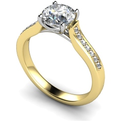HRRSD523  Round cut Grain Set Shoulder Diamond Ring - yellow