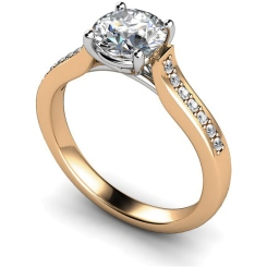 HRRSD523  Round cut Grain Set Shoulder Diamond Ring - rose