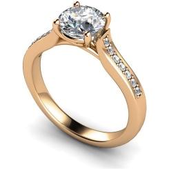 HRRSD523  Round cut Grain Set Shoulder Diamond Ring - rose