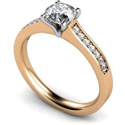 HRRSD581 Round Shoulder Diamond Ring - rose