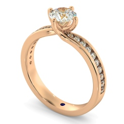 HRRSD594 Crossover Setting Round cut Diamond Ring with Accent Stones - rose