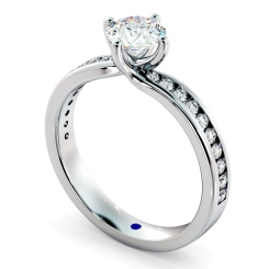 HRRSD594 Crossover Setting Round cut Diamond Ring with Accent Stones - white