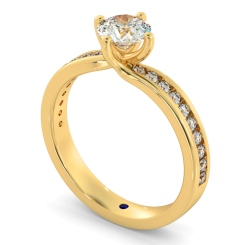 HRRSD594 Crossover Setting Round cut Diamond Ring with Accent Stones - yellow