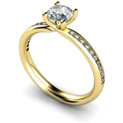 HRRSD624 Four Claws Crossover Set Round cut Shoulder Diamond Ring - yellow