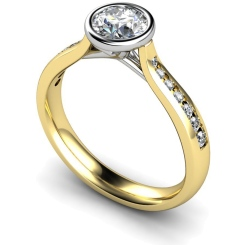HRRSD627 Bezel Crossover Setting Round cut Shoulder Diamond Ring - yellow