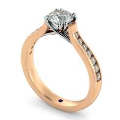 HRRSD629 Crossover Round cut Diamond Ring with Accent Stones - rose