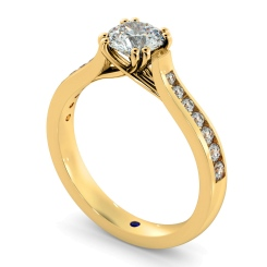 HRRSD629 Crossover Round cut Diamond Ring with Accent Stones - yellow