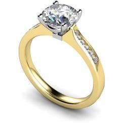 HRRSD636 4 Prongs Round cut Shoulder Diamond Ring - yellow