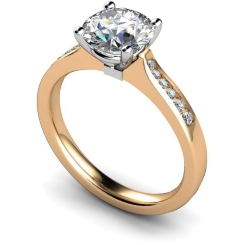 HRRSD636 4 Prongs Round cut Shoulder Diamond Ring - rose