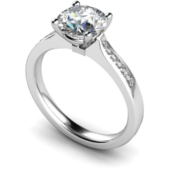 HRRSD636 4 Prongs Round cut Shoulder Diamond Ring - white