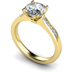 HRRSD636 4 Prongs Round cut Shoulder Diamond Ring - yellow