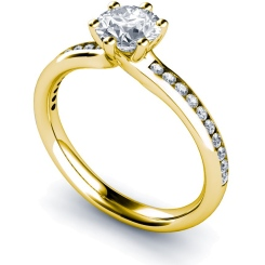 HRRSD638 6 Claws Round cut Shoulder Diamond Ring - yellow
