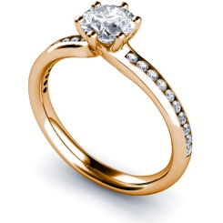 HRRSD638 6 Claws Round cut Shoulder Diamond Ring - rose
