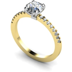 HRRSD644 Round cut Diamond Ring with Claw Set Accent Stones - yellow