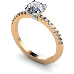 HRRSD644 Round cut Diamond Ring with Claw Set Accent Stones - rose