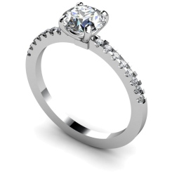 HRRSD644 Round cut Diamond Ring with Claw Set Accent Stones - white