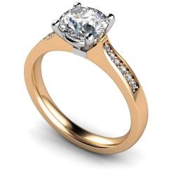 HRRSD658 Round Shoulder Diamond Ring - rose