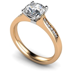 HRRSD658 Round Shoulder Diamond Ring - rose