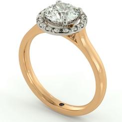 HRRSD681 Round Halo Diamond Ring - rose