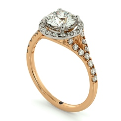 HRRSD682 Round cut Y Split Band Halo Diamond Ring - rose