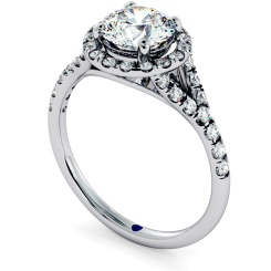 HRRSD682 Round cut Y Split Band Halo Diamond Ring - white
