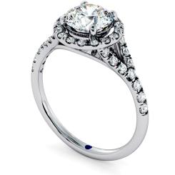HRRSD682 Round cut Y Split Band Halo Diamond Ring - white