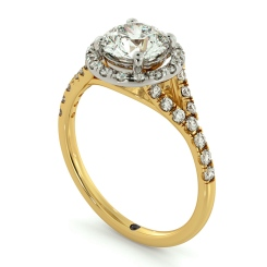 HRRSD682 Round cut Y Split Band Halo Diamond Ring - yellow