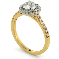 HRRSD683 Shoulder set Single Halo Round cut Diamond Ring - yellow