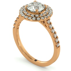 HRRSD684 Shoulder set Double Halo Round cut Diamond Ring - rose