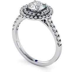 HRRSD684 Shoulder set Double Halo Round cut Diamond Ring - white