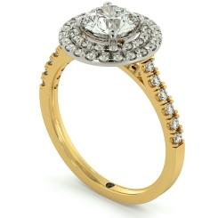 HRRSD684 Shoulder set Double Halo Round cut Diamond Ring - yellow