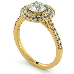 HRRSD684 Shoulder set Double Halo Round cut Diamond Ring - yellow