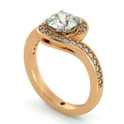 HRRSD685 Micro Pave set Round cut Swirl Halo Diamond Ring - rose