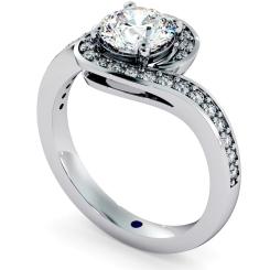 HRRSD685 Micro Pave set Round cut Swirl Halo Diamond Ring - white