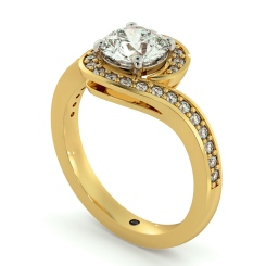 HRRSD685 Micro Pave set Round cut Swirl Halo Diamond Ring - yellow