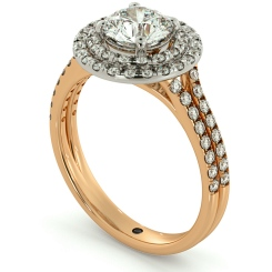 HRRSD687 Split Double Band Double Halo Round cut Diamond Ring - rose
