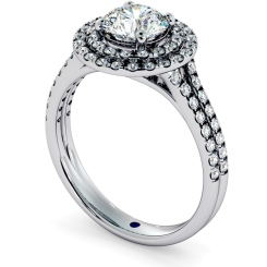 HRRSD687 Split Double Band Double Halo Round cut Diamond Ring - white