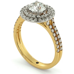 HRRSD687 Split Double Band Double Halo Round cut Diamond Ring - yellow