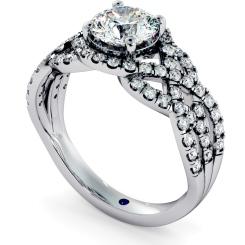HRRSD692 Designer Swirls Round cut Halo Diamond Ring - white