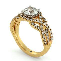 HRRSD692 Designer Swirls Round cut Halo Diamond Ring - yellow